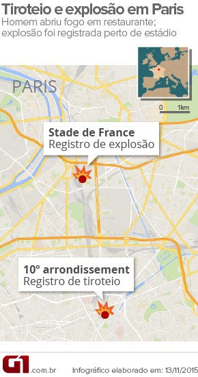 Tiroteio e explosão em Paris (Foto: Editoria de Arte/G1)
