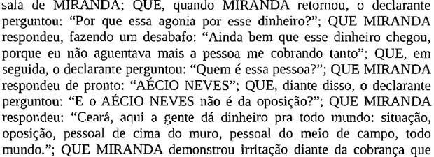 Trecho do depoimento em que o delator cita o senador Aécio Neves (PSDB-MG) (Foto: Reprodução)