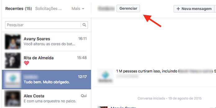 Opção para gerenciar mensagens recebidas de uma página do Facebook (Foto: Reprodução/Marvin Costa)