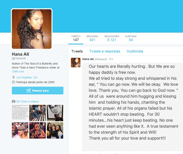 Tweet da filha de Muhammad Ali (Foto: Reprodução / Twitter)