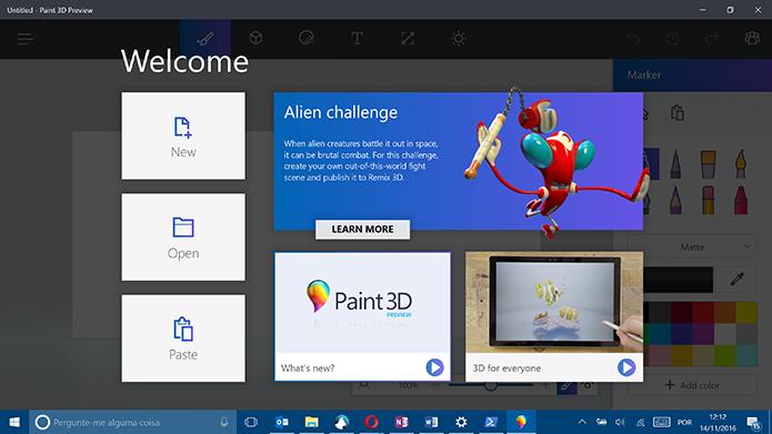 Paint 3D estará pronto para uso após a instalação no Windows 10 Anniversary Update (Foto: Reprodução/Elson de Souza)