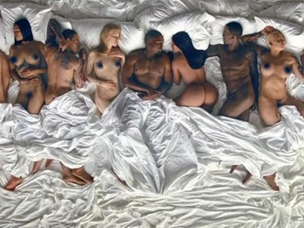 Rihanna, Chris Brown, Taylor Swift, Kanye West, Kim Kardashian, Bill Cosby e Amber Rose são retratados em clipe (Foto: Reprodução)
