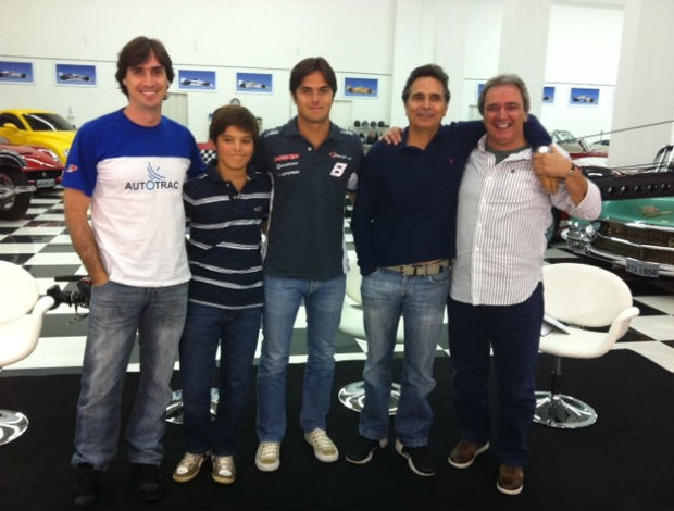Nelson Piquet e seus filhos no Linha de Chegada (Foto: SporTV)