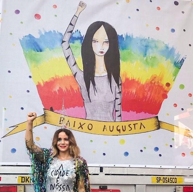 Leandra Leal no bloco Acadêmicos do Baixo Augusta (Foto: Reprodução/Instagram)