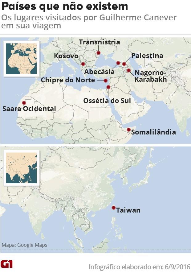 Mapa países que não existem (Foto: Editoria de arte/G1)