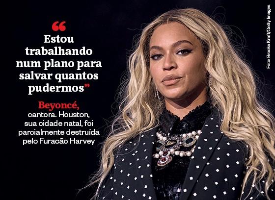 Beyoncé, cantora. Houston,  sua cidade natal, foi parcialmente destruída pelo Furacão Harvey (Foto: Foto: Brooks Kraft/Getty Images)