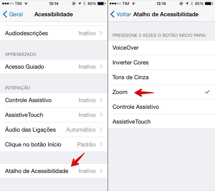Configurando atalho de acessibilidade (Foto: Reprodução/Helito Bijora)