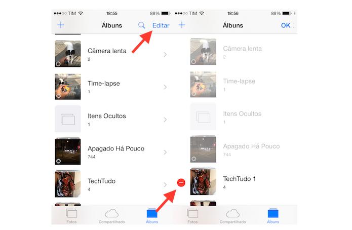 Iniciando a ação para deletar um álbum de fotos do iPhone (Foto:  Reprodução/Marvin Costa)