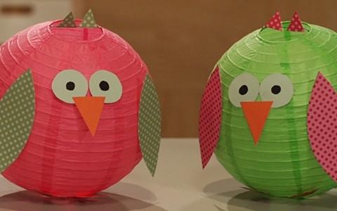 Como fazer uma coruja decorativa com lanternas japonesas