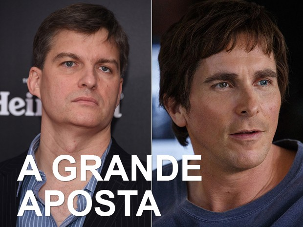 À esquerda, o investidor norte-americano Michael Burry, e, à dir., Christian Bale em 'A grande aposta' (Foto: Dimitrios Kambouris/Getty Images/AFP e Divulgação)