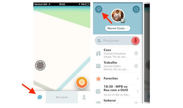 Acessando as configurações do Waze no iPhone (Foto: Reprodução/Marvin Costa)