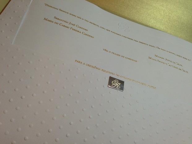 Convite de casamento de Naldo e Moranguinho (Foto: Divulgação)