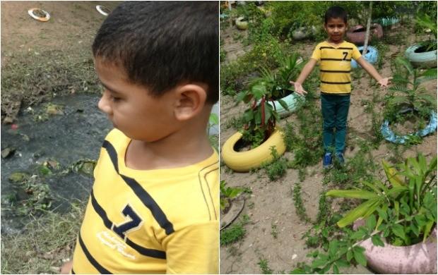 O pequeno Lucas, de 6 anos, viu a transformação e ajuda na preservação do igarapé do Coroado (Foto: Onofre Martins/Rede Amazônica)