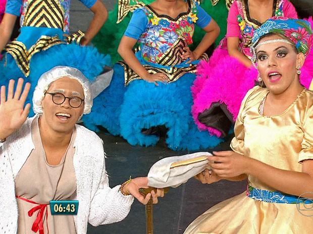 Do Recife, a Quadrilha Sanfona Dourada falou sobre mitos do Nordeste, como Lampião.  (Foto: Reprodução / TV Globo)