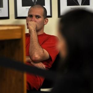 O réu Luiz Henrique Romão, conhecido como Macarrão, durante julgamento do caso Eliza Samudio (Foto: Vagner Antônio/TJMG)