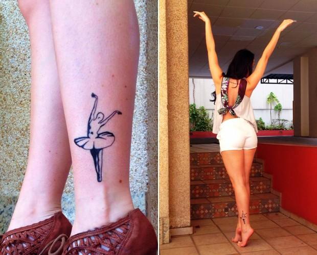 A gata imita a posição da sua tattoo do tornozelo (Foto: Arquivo Pessoal)
