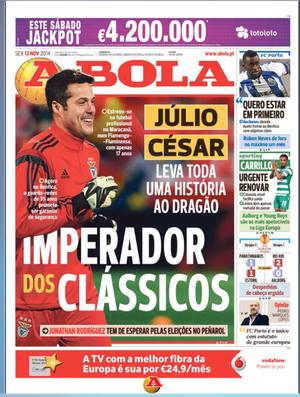 Julio César é destaque para o clássico em Portugal
