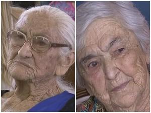 Dona Olinda (esq.) e dona Leonor (dir.) comemoraram 100 anos (Foto: Reprodução/ TV TEM)