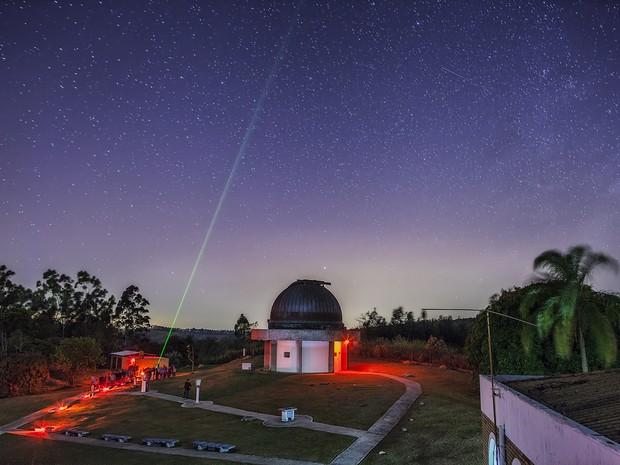 Domingo de observação de meteoro no observatório (Foto: Arquivo Pessoal/ Rafael Defavari)