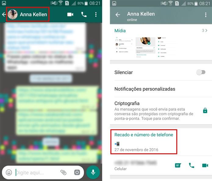 O recado também aparece na conversa com seu contato do WhatsApp  (Foto: Reprodução/Aline Batista)
