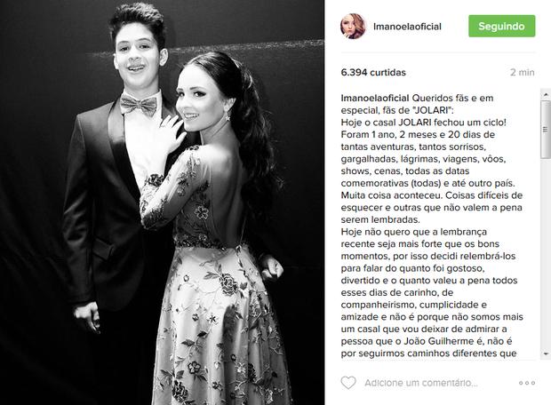 Larissa Manoela avisa aos fãs o fim do namoro com João Guilherme (Foto: Reprodução/Instagram)