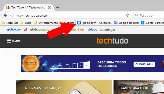 Selecione um site favorito (Foto: Reprodução/Paulo Alves)