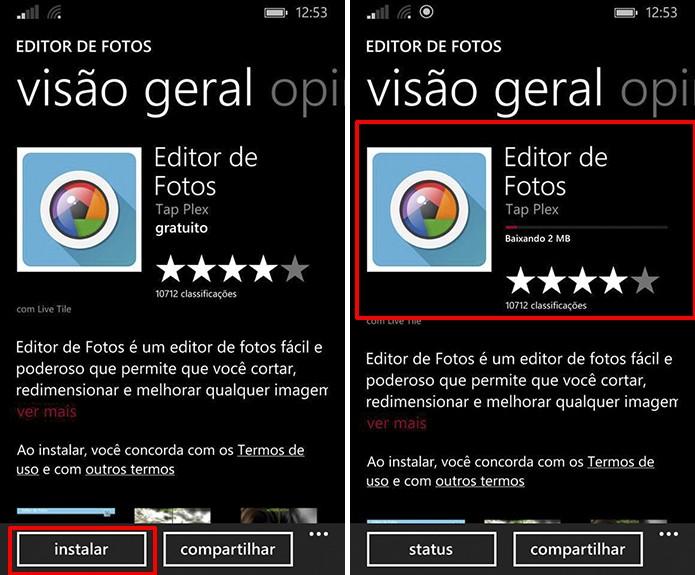 Loja do Windows Phone agora baixa e instala aplicativos sem levar usuário para outra tela (Foto: Reprodução/Elson de Souza)