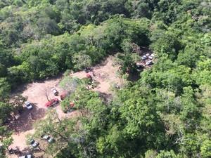 Vista área do local onde fica a gruta, em Santa Maria do Tocantins (Foto: CIOPAER/SSP)