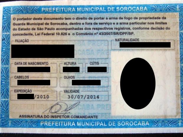 Identidade funcional de guardas municipais de Sorocaba estão vencidas (Foto: Arquivo Pessoal)