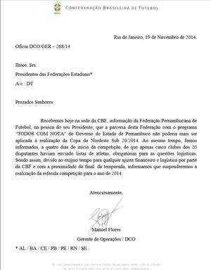 Oficio assinado pela CBF  (Foto: GloboEsporte.com)