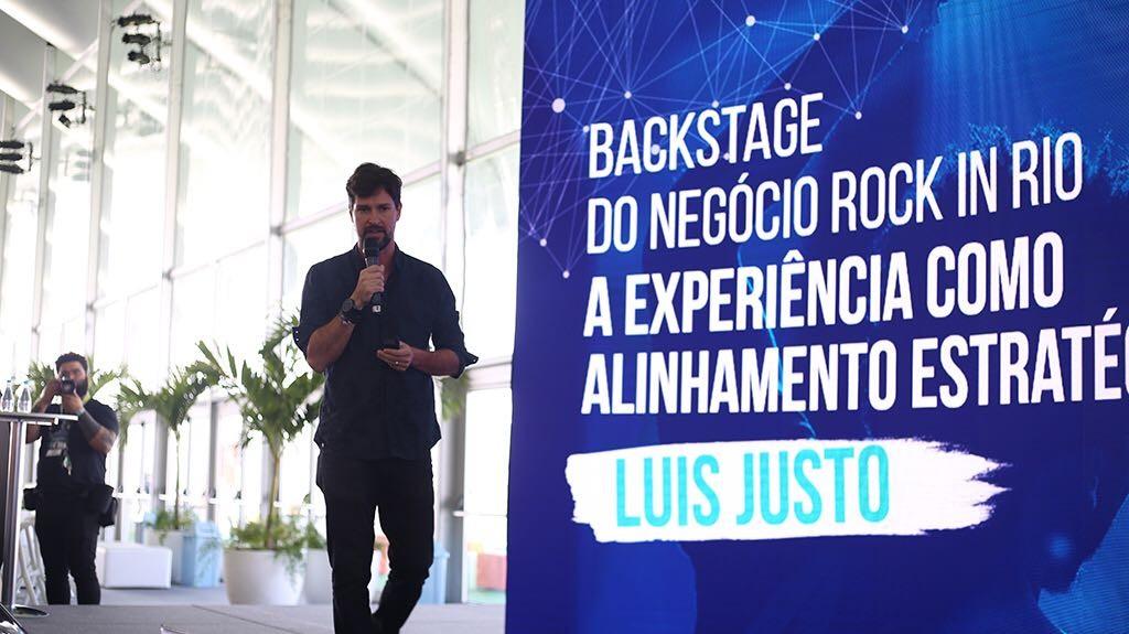Luis Justo, CEO do Rock in Rio, fala no Rock in Rio Academy by HSM sobre o modelo e estratégia de negócio do evento (Foto: Airo Munhoz / G.LAB)