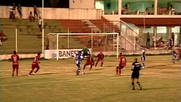Gol de Erivelton, do São Mateus (Foto: Reprodução/TV Gazeta Noroeste)