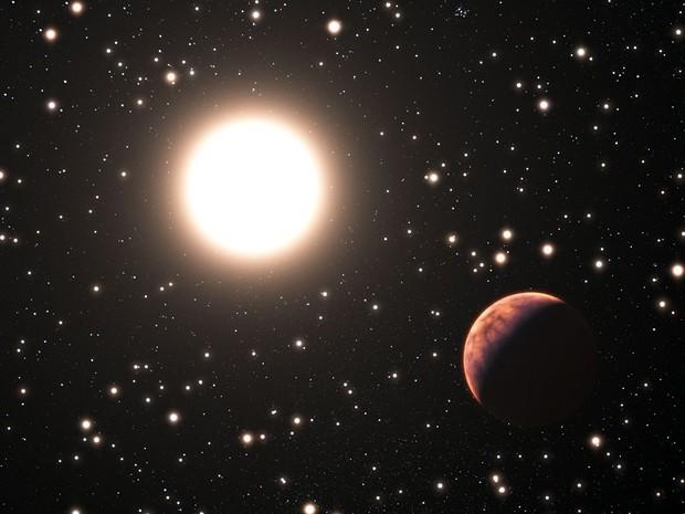 Concepção gráfica simula a presença de um dos três planetas encontrados no acúmulo de estrelas Messias 67 (Foto: ESO/L. Calçada/Divulgação)