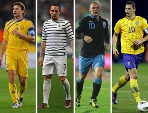 EUROCOPA Grupo D - Ucrânia: Shevchenko / França: Ribéry / Inglaterra: Rooney / Suécia: Ibrahimovic (Foto: Agência Getty Images)