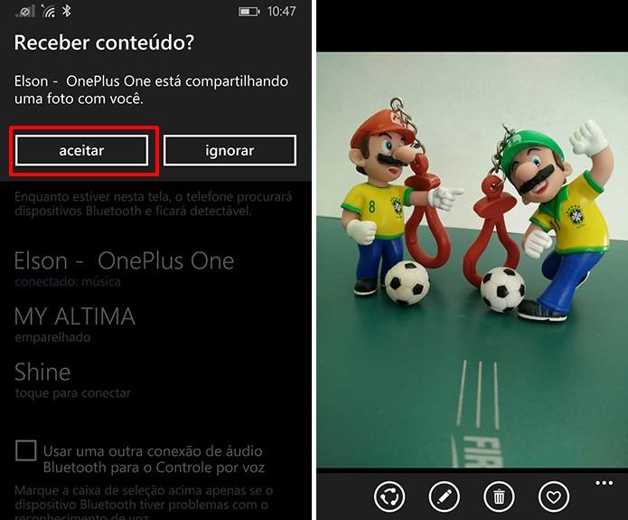 Windows Phone receberá o arquivo após a confirmação do usuário (Foto: Reprodução/Elson de Souza)