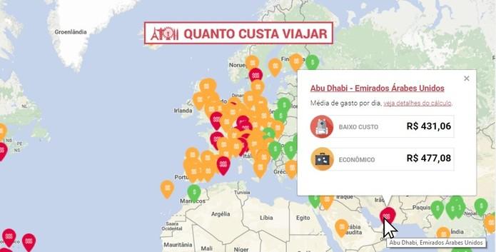 O site mostra o valor médio diário de cada local (Foto: reprodução/Daniela Ferrari)