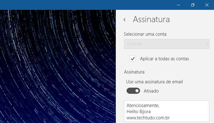 Personalizando a assinatura do app de e-mail do Windows 10 (Foto: Reprodução/Helito Bijora)