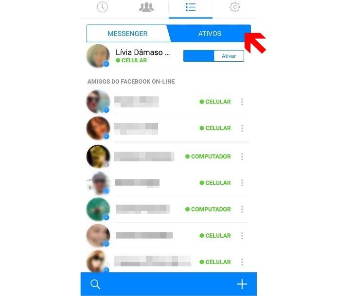 Acessando a lista de contatos ativos no Facebook Messenger (Foto: Reprodutção/Lívia Dâmaso)
