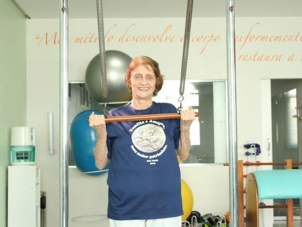 Pilates faz parte da rotina de Donor (Foto: Girlene Medeiros/G1 AM)