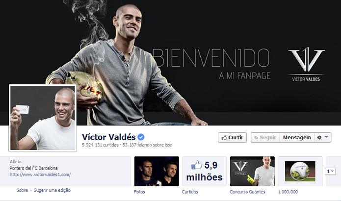 Víctor Valdés do Barcelona tem 5,891,391 de fãs no Facebook (Foto: Reprodução/Facebook)