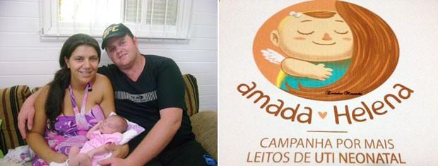 """Pais de Helena lançaram a campanha """"Amada Helena"""" pelo aumento dos leitos no país (Foto: Montagem sobre fotos/Arquivo pessoal)"""