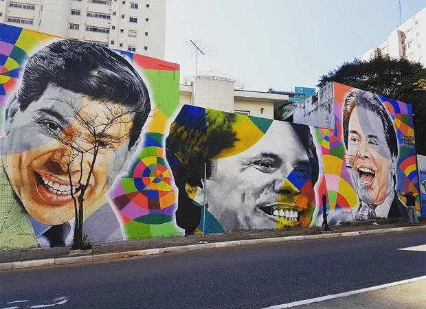 Mural em homenagem a Silvio Santos na Avenida 23 de Maio, em São Paulo (Foto: Reprodução)