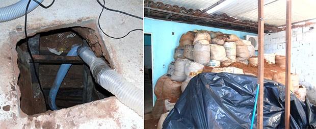 Túnel foi escavado com sistema de iluminação e ventilação. Areia retirada foi armazenada em sacos de areia (Foto: Divulgação/Polícia Civil)