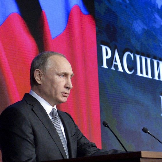 Vladimir Putin faz um discurso durante reunião com a cúpula das Forças Armadas em Moscou, na Rússia (Foto: Alexei Druzhinin/Sputnik, Kremlin Pool Photo via AP)