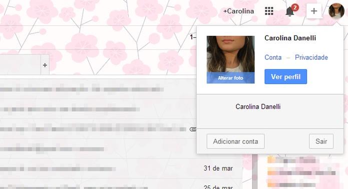 """Vá na opção """"Adicionar conta"""" para fazer login em outra conta do Gmail (Foto: Reprodução/Carol Danelli)"""