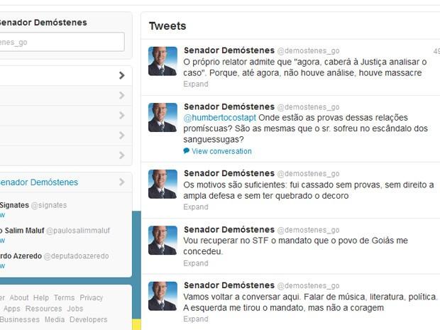 Twitter de Demóstenes Torres (Foto: Reprodução)