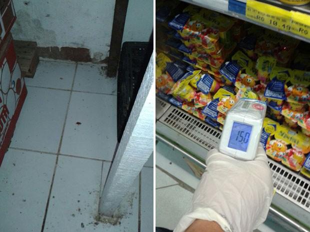 Fiscais encontraram barata no depósito e verificaram alimentos mal condicionados. (Foto: Divulgação/ Procon PE)