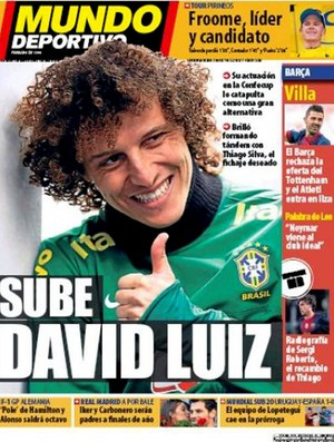 reprodução jornal mundo deportivo david luiz (Foto: Reprodução )