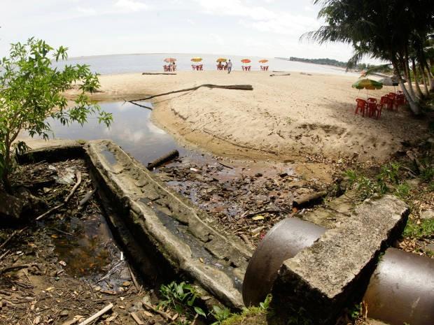 Esgoto Sanitário em Mosqueiro Belém (Foto: Fernando Araujo/ O Liberal)