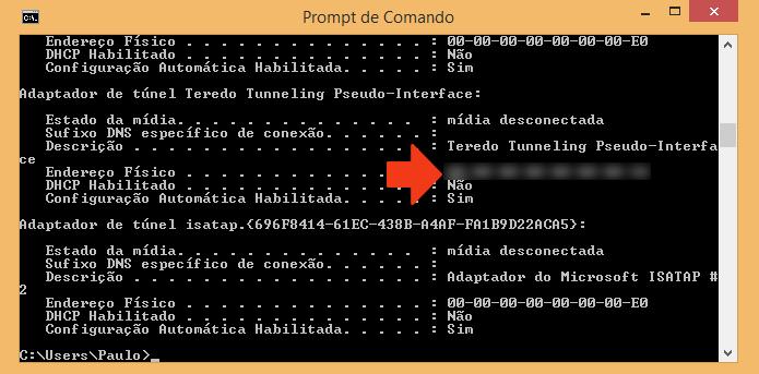 Anote o endereço físico do seu PC (Foto: Reprodução/Paulo Alves)